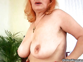 breasty granny can toying her old and hirsute twat