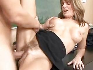 pale older brunette gets her bushy twat rammed in