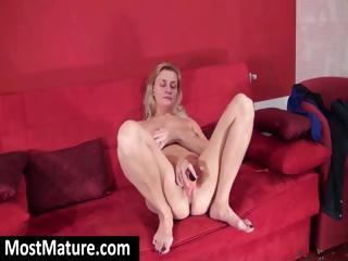 fat aged golden-haired masturbates on the sofa