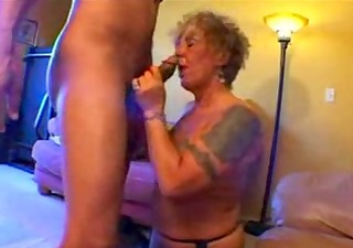 tattooed old biker babe acquires freaky