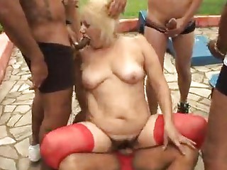mature granny golden-haired victoria bang outdoor