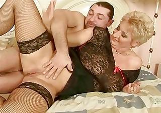 grandma in fishnet nylons enjoys hawt sex