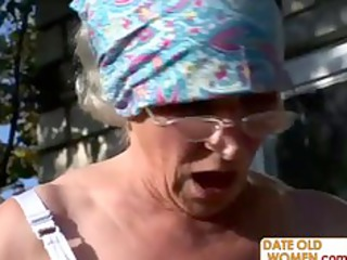 granny receives reamed by young guy outdoors