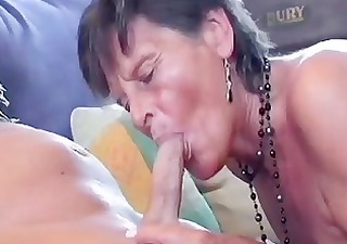 greyhaired granny receives a double dipping of