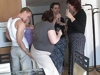 four horny moms enticed cute lad to coll group sex