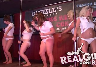 sexy cuties striptease naked on stage and one