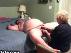 aged gives obese hubby fine tugjob