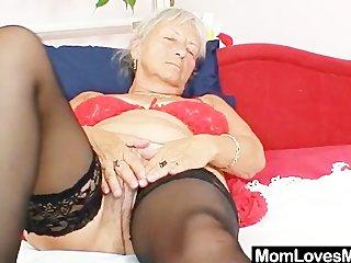 ugly grandma cecilie toys her shaggy vagina