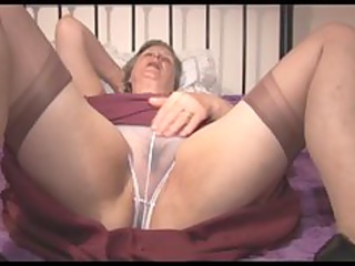 granny in slide and watch thru pants showing off
