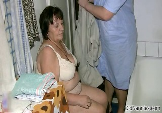 immodest obese old woman acquires her body rubbed
