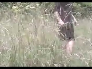 aged lady receives nasty creampie in the forest