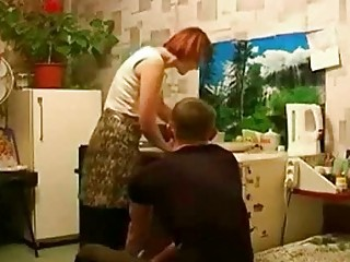 russian readhead aged mother and son