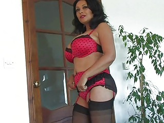 heavy chested black haired milf in underware