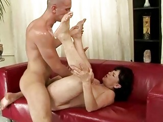 ugly granny gets her unshaved wet crack drilled