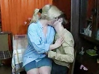 russian mom and lad having a swallow