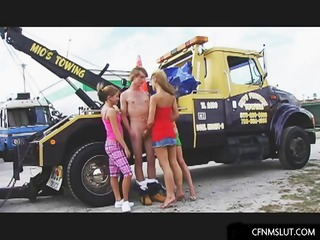 college angel engulf a single wang at a trailer