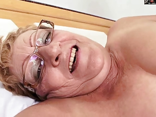 unshaved granny in glasses receives bbc
