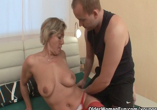 concupiscent granny sucks rod and receives drilled