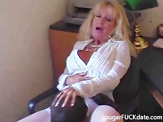 hawt granny cougar in stockings bonks a young stud